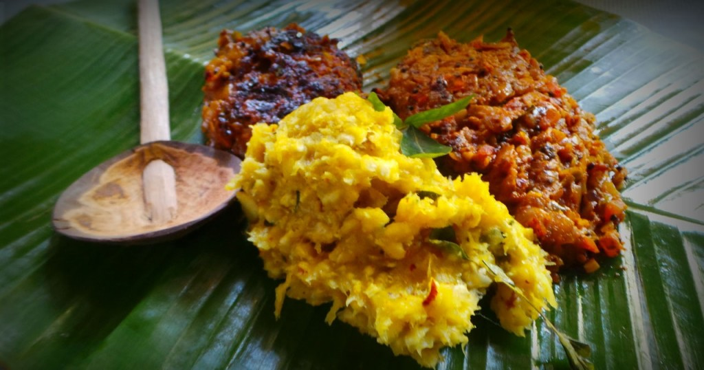 Kerala Special -Chakka vevichathu and curry-Jack Fruit Varieties of Traditional Indian Food Items
