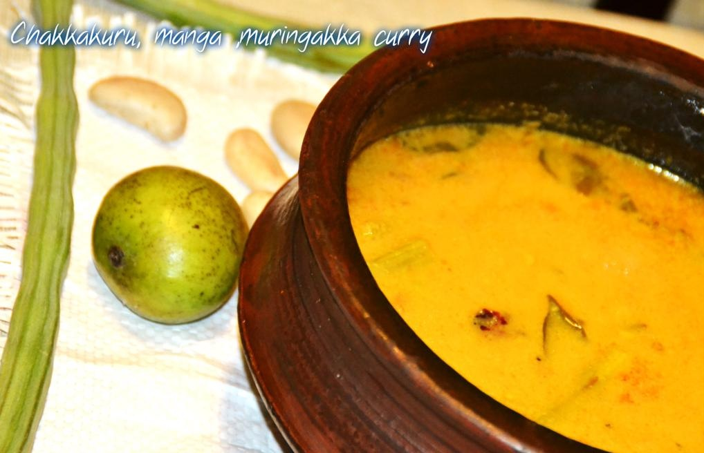 chakkakuru-manga-muringakka-curry-Jack Fruit Varieties of Traditional Indian Food Items