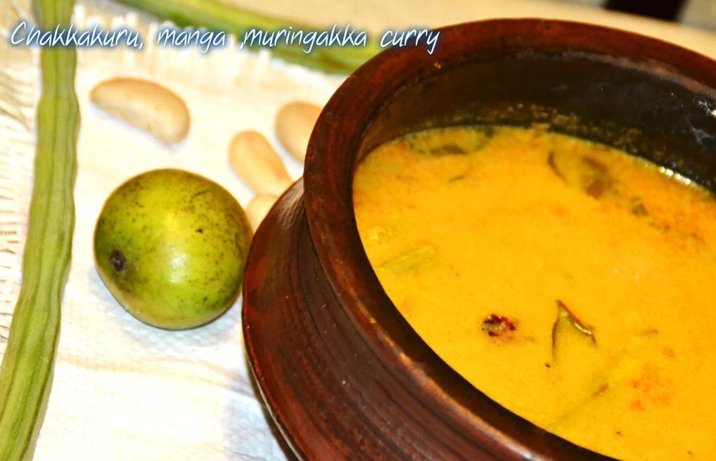 chakkakuru-manga-muringakka-curry-Jack Fruit Varieties of Traditional Indian Food Items