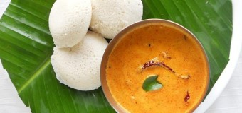 Delicious and soft idli and red coconut chutney