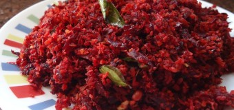 Beetroot thoran or Beetroot recipe with grated coconut mixture