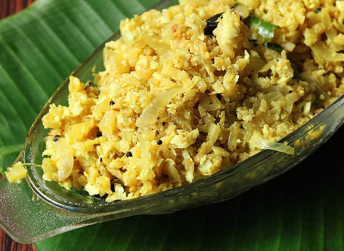 Vazhapindi Thoran, Vazha thandu thoran or Banana stem recipe with grated coconut
