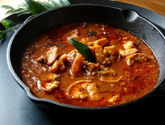 Chemmeen curry or Prawn Curry