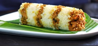 Irachi puttu with rice flour and beef/chicken