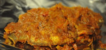 Delicious and spicy Karimeen pollichatu