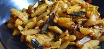 Koorka Mezhukkupuratti or Stir fried Chinese pototoes