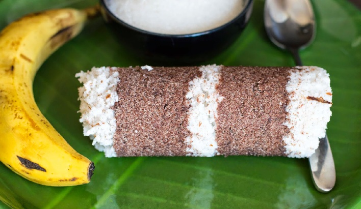 Ragi puttu or Steamed finger millet flour cake