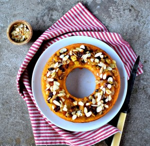 cakes with nuts and orange juice