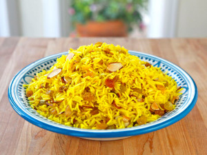 Saffron rice with almonds nuts pischios