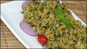 Spinach coriander pulao spicy rice natureloc