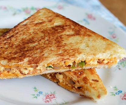 Tasty Paneer sandwich with butter