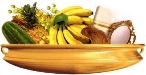 Yellow -Gold - Kani vellari,Konnaflowers,Gold coins,fresh currentcies,Nilavilakku - Gold Theme